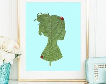 Silhouette art print - Leaf pop art poster - Collage artwork illustration