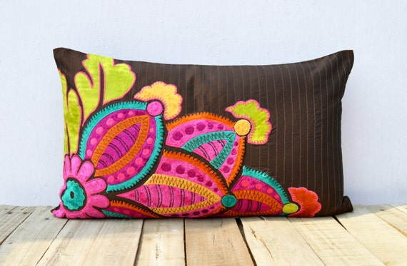 Embroidered vibrant colored throw pillow cover rayon velvet