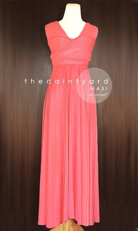 MAXI Coral Bridesmaid Dress Convertible Dress Infinity Dress