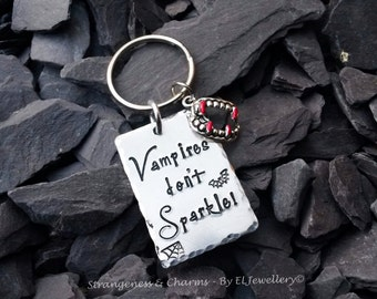 Hand Stamped 'Vampires Don't Sparkle' Aluminium Keychain, Halloween Jewelry, Metal Jewelry, Vampires, Geekery, Twilight, Sparkle, Jewellery