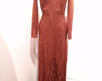 Vintage 1970s metallic copper dress size 4