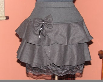 Black Gothic Lolita Mini Skirt - Extra Small (XS to S)
