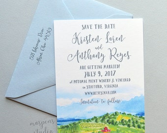 Sample Watercolor Countryside Wedding Save The Date, Country Wedding Save the Date, Watercolor Save the Date, Wine Country Save the Date, A2