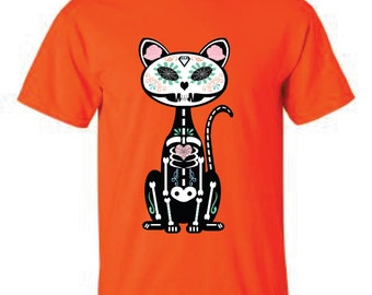Sugar Skull cat, day of the dead shirt, sugar skull cat, day of the dead cat, Halloween shirt, halloween cat shirt, halloween sugar skull