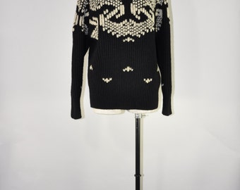 90s black wool ski sweater / 1990s chunky knit pullover / Nordic wool sweater