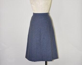 70s steel blue skirt / 1970s pleated wool skirt / vintage tweed A line skirt