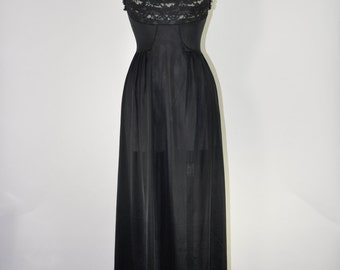 60s long black negligee / 1960s lacy nightgown / vintage silky maxi slip