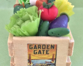 Hand Made Crate of Fresh Vegetables
