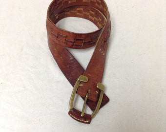 Free Ship Leather Belt w/ Buckle Brown