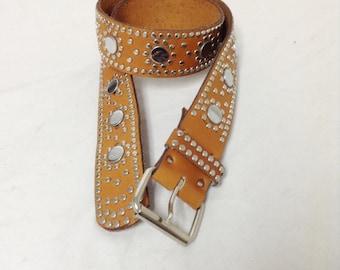 "Studded Leather Belt,brown,leather,belt,studded, Buckle,38"",USA"
