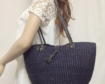 Sisil tote bag,bucket bag, Woven ,Sisil ,Bucket, Purse, Leather Straps ,Shoulder Bag,purple,blue