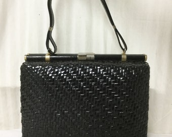 Italy, Box Wicker Purse, bag, Leather Handle ,Fancy Latch, 1950s,1960s, Made in Italy,Black