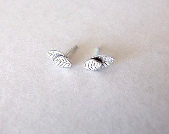 Silver Stud Earrings - small stud earrings , silver earrings , stud leaf earrings , woodland earrings