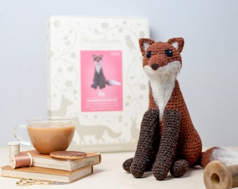 Fox Crochet Kit - Amigurumi Crochet Fox Kit - craft kit gift - crochet fox project - fox craft kit for adults - crochet pattern