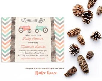 twins baby shower invitations, boy girl twins shower invites, rural baby shower, twins tractor invitation, peach teal chevrons, PRINTABLE