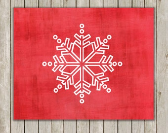 8x10 Christmas Printable Decor, Snowflake Art Poster, Snowflake Wall Art, Red Art Printable, Holiday Printable, Decor, Instant Download