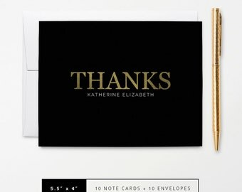 Flat or Folded Thank You Note Cards // Set of 10 // Faux Gold Foil 'Thanks' on Black // Personalized Stationery // S105