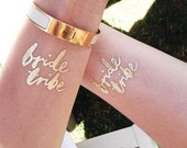 Wedding Tattoos | Bridesmaid gift | Bride Tribe © | MOH gift | 12 Bachelorette tattoo | Gold bride tattoo | Hens tattoo | Bachelorette favor