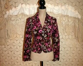 Womens Jackets XS Purple Floral Jacket Corduroy Jacket Cropped Jacket Boho Jacket Boho Clothing Benetton Size 0 Size 2 Womens Clothing