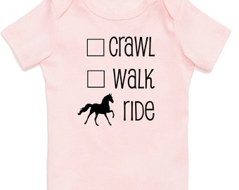 Crawl, Walk Ride Horse Onesie, Equestrian Baby Shower Gift for Boys, Girls, and Surprises, Equestrian Clothing for Babies Infants Toddlers