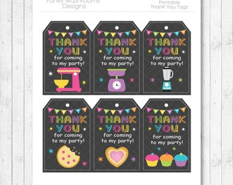 Mix and Cook Thank you Tags, Gift Tags, Mix and Cook Birthday, Mix and Cook Party, printable,  INSTANT DOWNLOAD