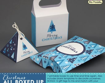 Christmas printable boxes packaging - 7 printable boxes plus blank templates and bonus gift tags. Instant download. Digital file. Blue