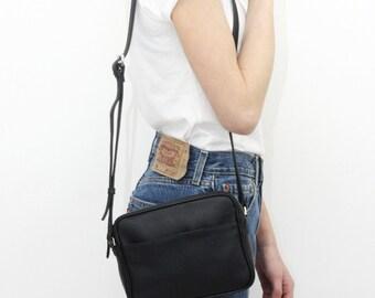 NINA - Leather CrossBody Bag - BLACK