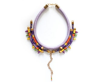 Statement Necklace, Rope Necklace, African Necklace, Ethnic Necklace in purple, orange