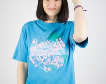 Vintage Hawaiian T-Shirt | 80s Turquoise Flower and Palm Tee | Honolulu Hawaii Shirt