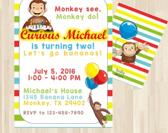 curious george  etsy, Birthday invitations