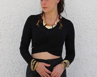 RHEA  black crop top/criss cross wrap blouse/long sleeved top/Greek mythology inspired top