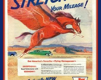 """Flying Horse in 1950 Mobilgas vintage print ad- """"Stretch Your Mileage!- Ephemera, to frame, nostalgia"""
