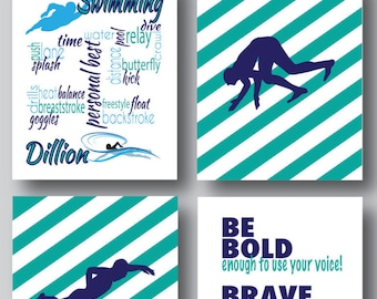 Set of 4, Swimmer Wall Art, Swimmer Art, Gifts for Swimmers, Swimming, Swim, Just Keep Swimming, Sports Decor, Sports Poster, Personalize