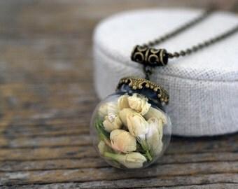 Jasmine Necklace, Real Jasmine, Dried Jasmine Necklace, Jasmine Jewelry, Terrarium Necklace, Dried Flowers Jewelry, Real Flowers Necklace