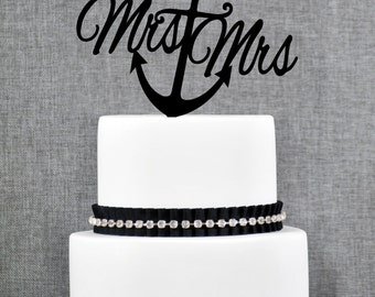 Nautical Same Sex Mrs and Mrs Cake Topper with Anchor – Nautical Wedding Cake Topper Available in 15 Colors and 6 Glitter Options- (T228)