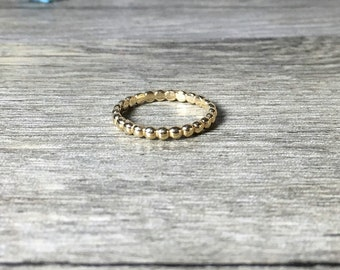 14K Gold, Stacking Ring, Dotted Band Ready to Ship, Size 6
