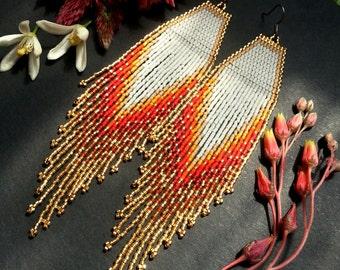 Flaming Heart..Long Shoulder Duster Beaded Fringe Earrings