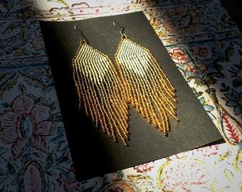 Golden Dawn (Cream)...Beaded Fringe Earrings
