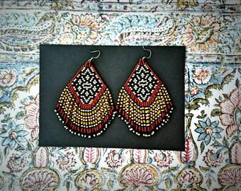 Clay Canyon..Beaded Fringe Earrings Native American Inspired
