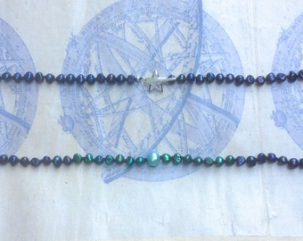 Shaded Dark Blue and Green Pearl Necklace with Sterling Silver Star Clasp