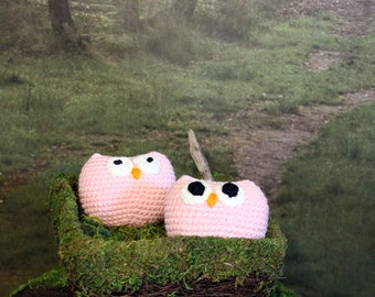 Pink Owl Stuffed Animal, Crochet Amigurumi Plush Toy