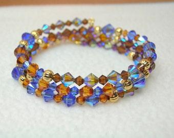 Sapphire & Topaz Crystal Memory Wire Bracelet