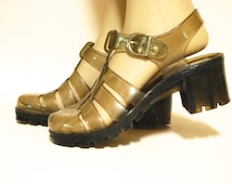 Jelly Shoes 90s Vintage Clear Plastic T Bar Sandals Lollipops Vtg Rubber Heel Clubkid Kawaii 1990s Kitsch Size 6 37