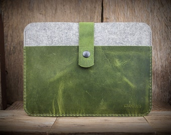 Fachwerk for iPad Air 2, case leather - felt, green, WT1114