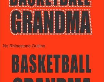 Vinyl Rhinestone Basketball Grandma Short Sleeve T-Shirt Many Colors