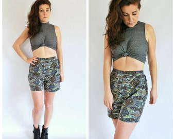 1950's Cotton Shorts - 50's High Waisted Novelty Print Shorts - Size XS/S