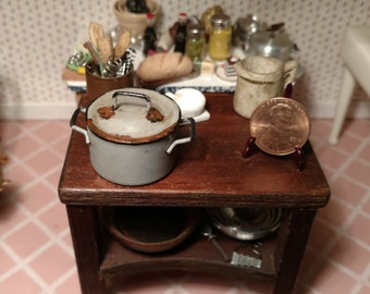 Dollhouse Miniature Blue Rusted Pot Item #17416