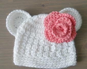 Crochet Polar Bear Hat With Flower, Baby Polar Bear Hat, Baby Bear Hat, Crochet Baby Hat, Newborn Photo Prop, Baby Girl Hat, Pink Flower Hat