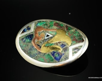 Taxco  Sterling Silver Mixed Metal Azurite Inlay Gold, Green, Blue Brooch