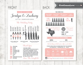 Infographic Blush and Gray Silhouette Wedding Program Design • Printable PDF / JPEG • Choose Your Silhouettes • ANY Colors • Double Sided
